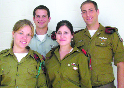 A delegation of Israel Defense Forces soldiers recently spent 12 days in Minneapolis. Pictured above are (l to r): Miriam, Nadav, Michal and Haim. (Photo: Mordecai Specktor)