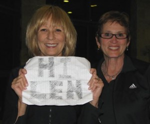 Marilyn Horowitz (left) has a message for her husband. She, along with Idy Garvis, are now at Kibbutz Ma'agan, an idyllic resort on the shores of Lake Kinneret (Sea of Galilee).